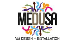 Medusa logo - VM Design & Installation.