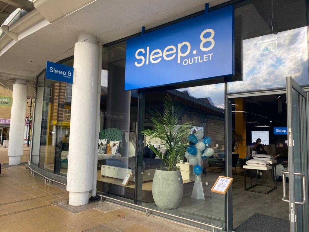 The sleep.8 store front, showing a view through the shop